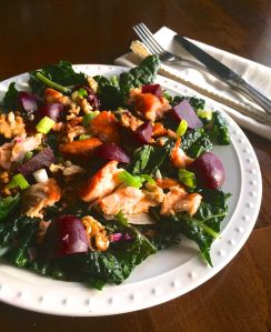 Kale Salad with Salmon and Beets