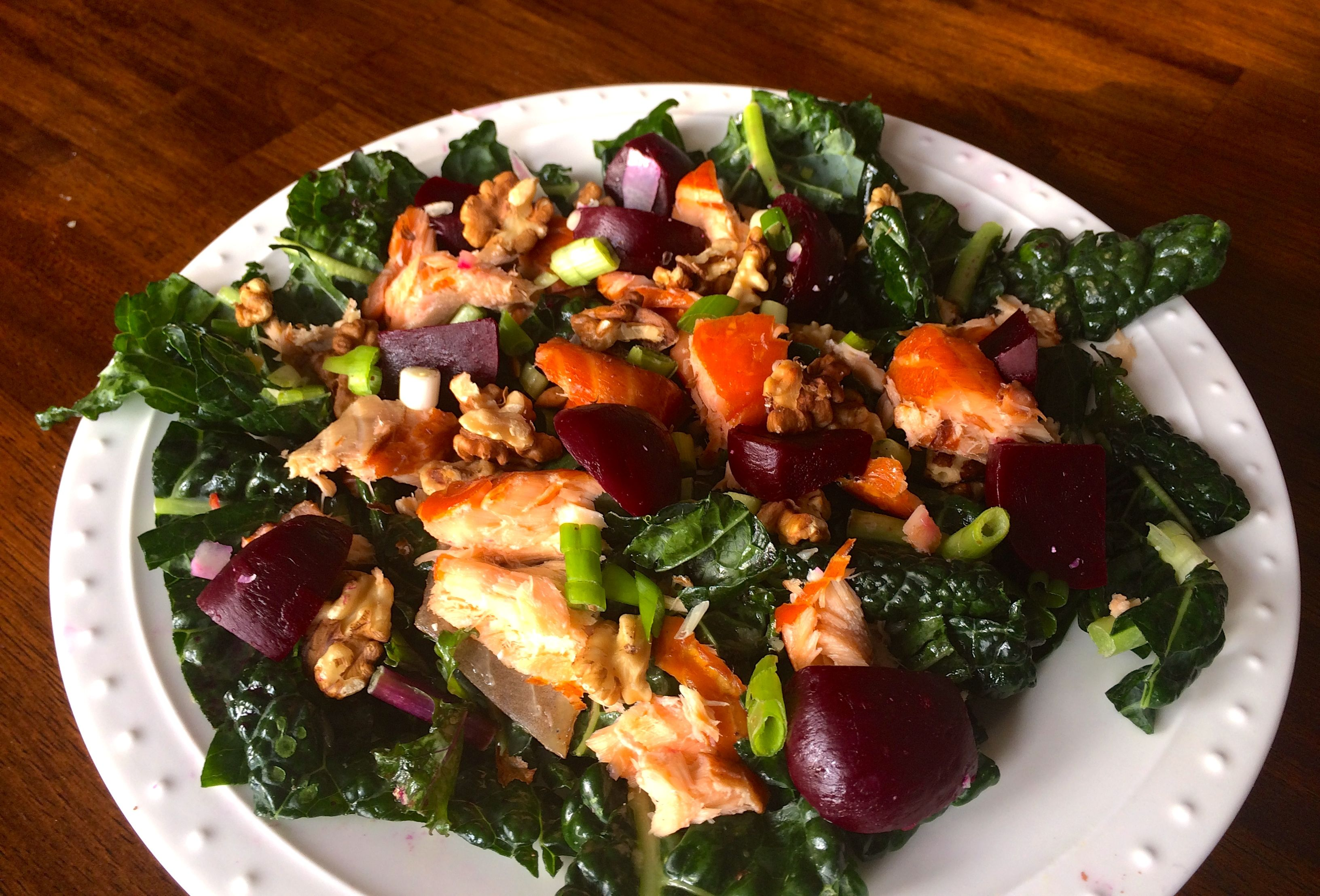 Salmon, Kale, and Beet Salad