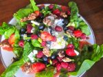 Triple Berry and Spinach Salad with Toasted Walnuts and Gorgonzola