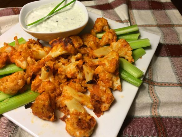 Buffalo Cauliflower and Blue Cheese Sauce