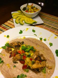 Fish Fajitas with Mango Salsa