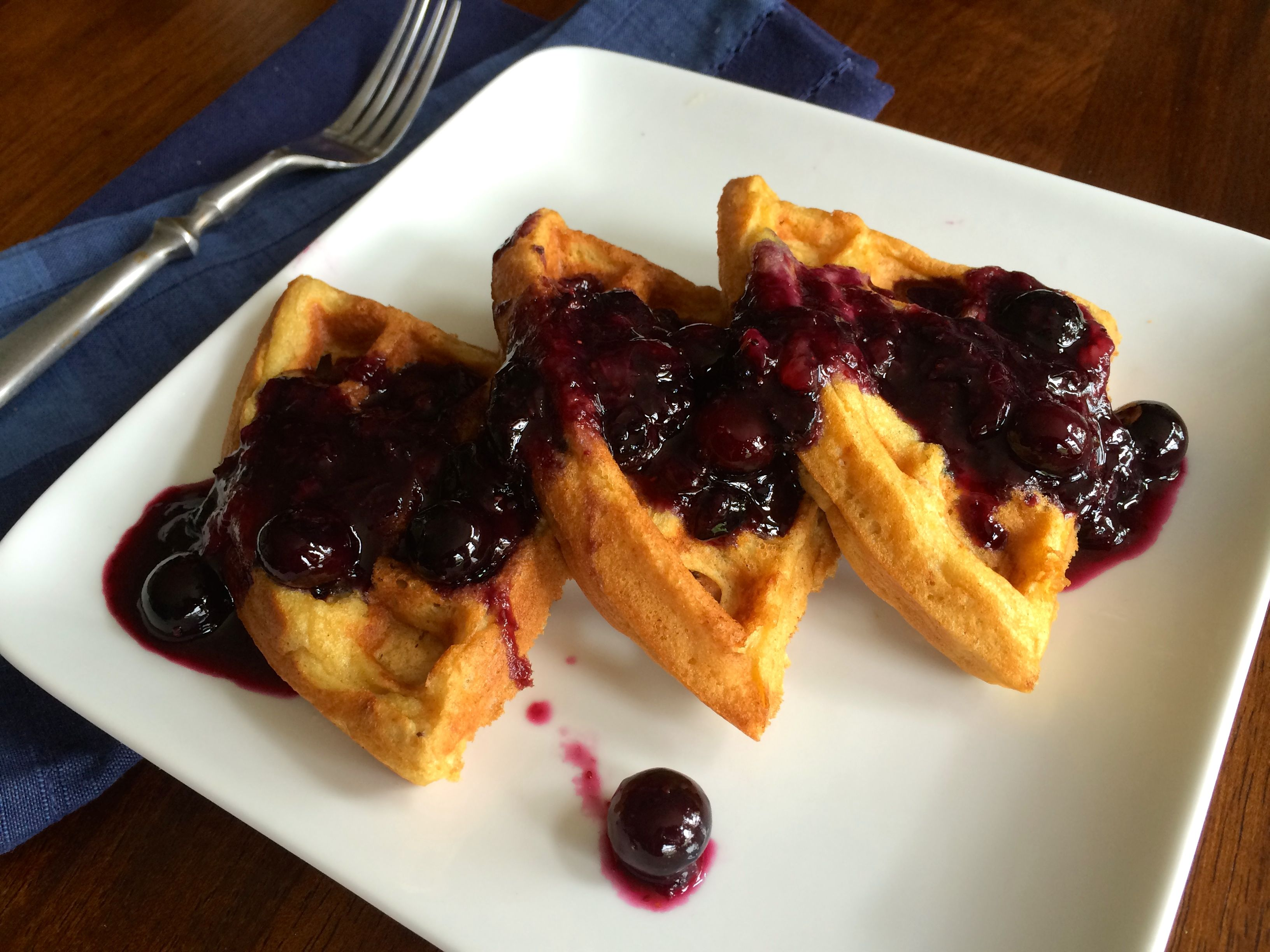 Waffles with Blueberry Maple Syrup