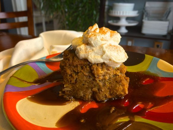 Pumpkin Bread Pudding with Bourbon Caramel