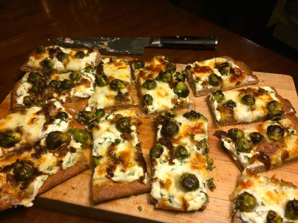Brussels Sprouts and Caramelized Onions White Pizza | PK Newby